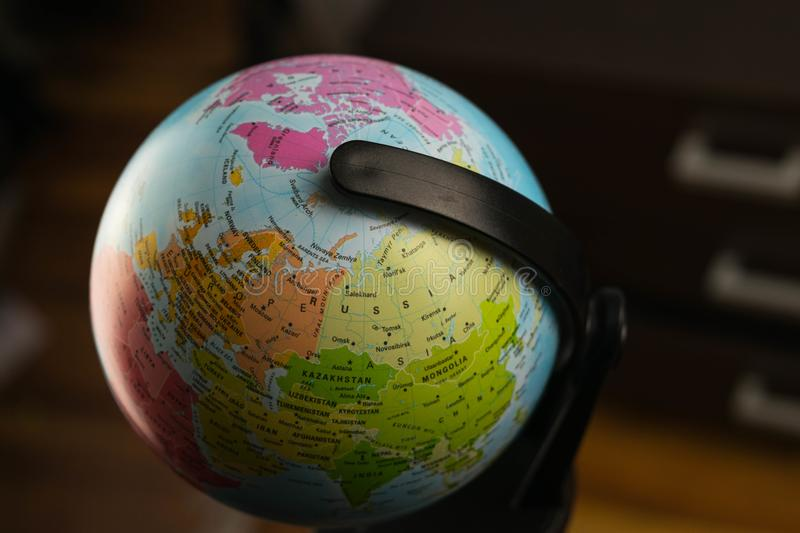 Earth globe map with focus on Asia, Russia, Canada, North Pole.  royalty free stock photos