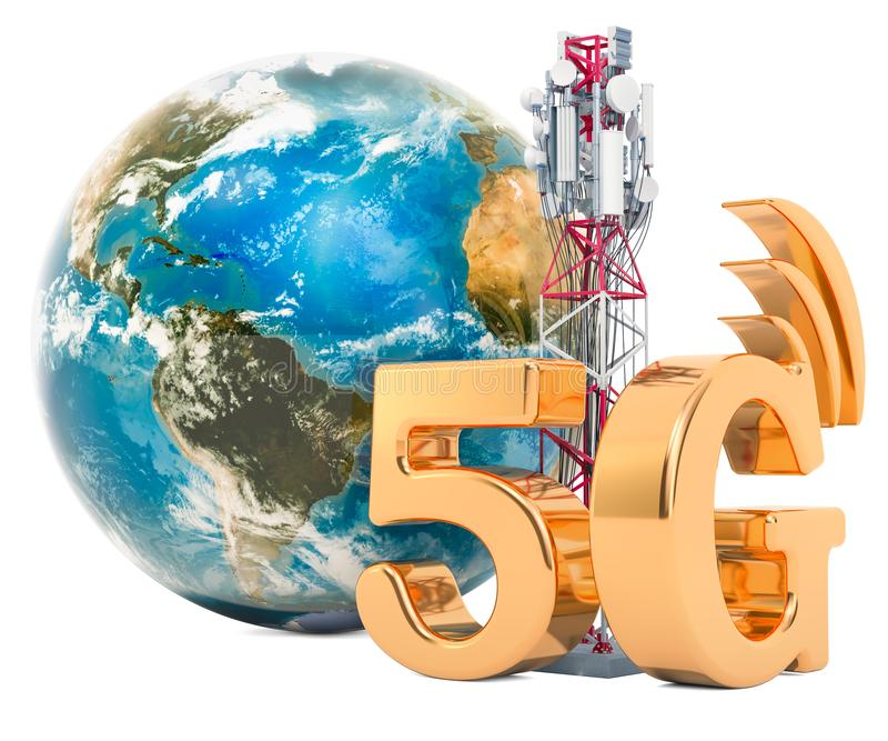 Earth Globe with mobile tower, 5G concept. 3D rendering. Isolated on white background royalty free illustration