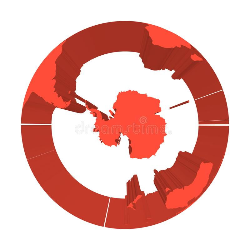 Earth globe model with red extruded lands. Focused on Antarctica and South Pole. 3D vector illustration vector illustration