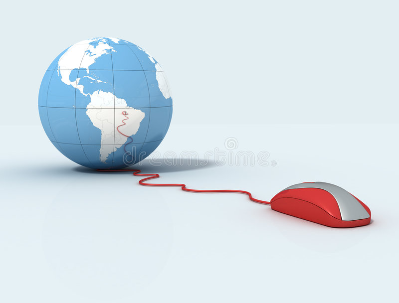 Earth Globe and mouse vector illustration