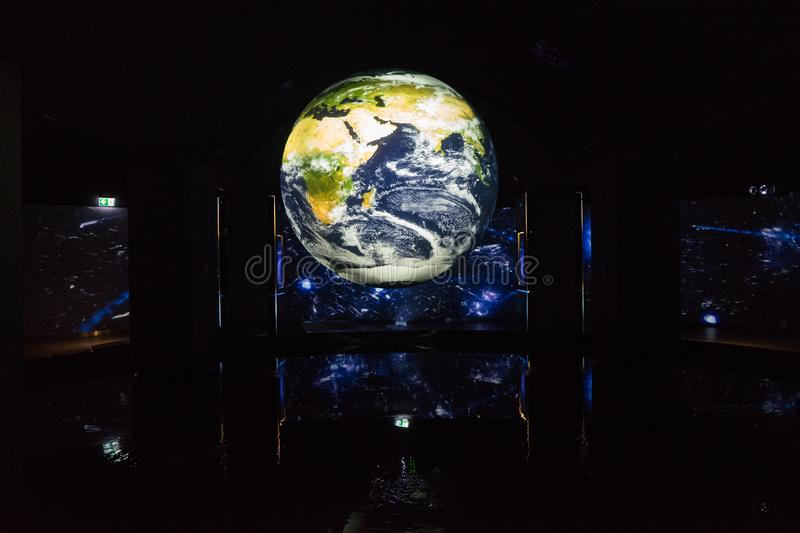 Earth globe on museum exhibition stock photo