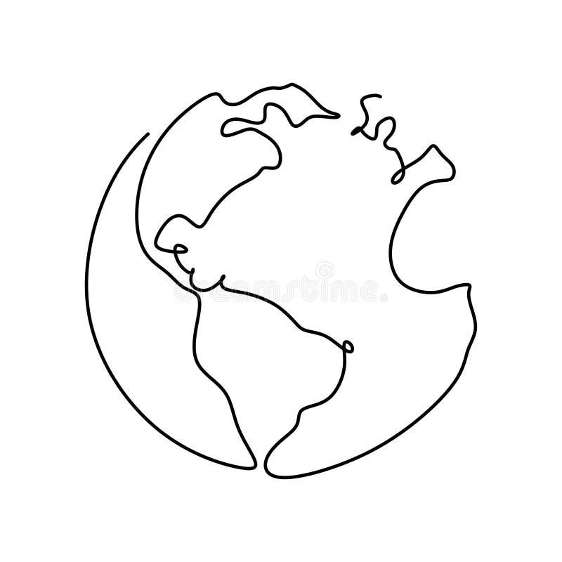 Earth globe one line drawing minimalism design stock illustration