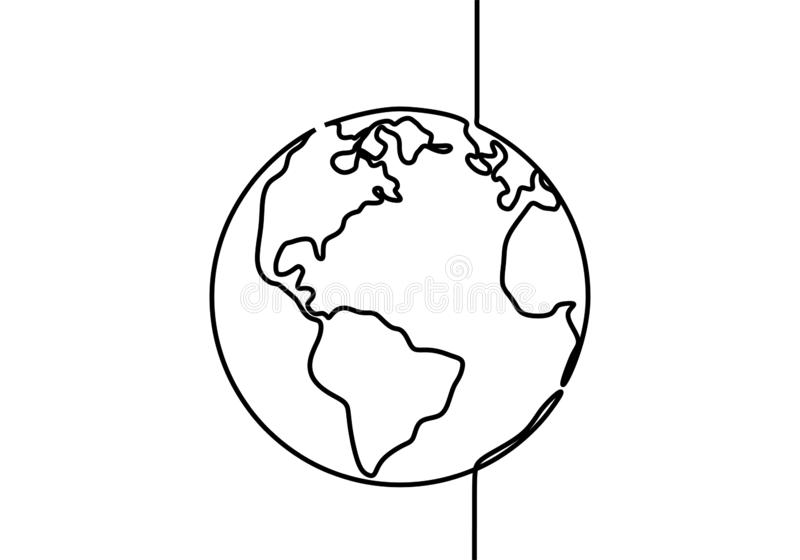 Earth globe one line drawing of world map vector illustration minimalist design of minimalism isolated on white background. Continuous, america, global vector illustration