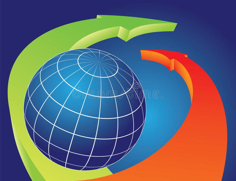 Download Earth Globe Overlapped By Bending Arrows Royalty Free Stock Image - Image: 19333616