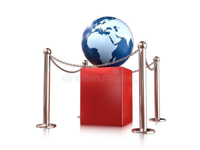 Earth globe on pedestal. Earth globe on red pedestal enclosure vector illustration