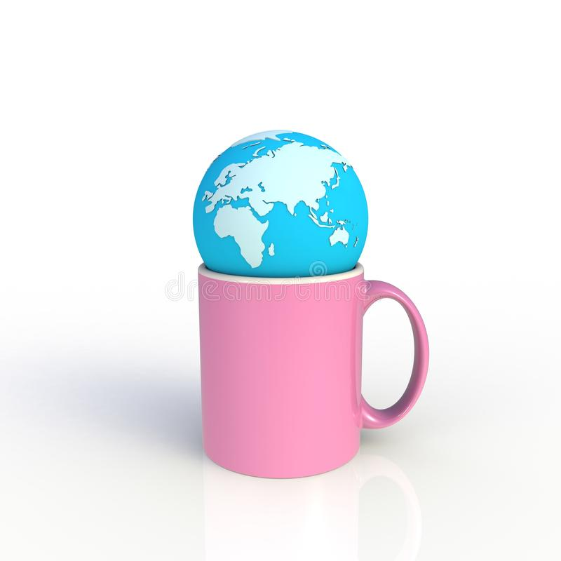 Earth globe with pink coffee cup isolated on white background. Mock up Template for application design. Exhibition equipment. Set template for the placement of royalty free illustration