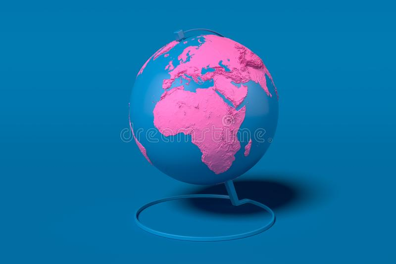 Earth globe with pink continents isolated on blue background. 3d rendering. map provided by NASA. Blue Earth globe with pink continents isolated on blue royalty free illustration