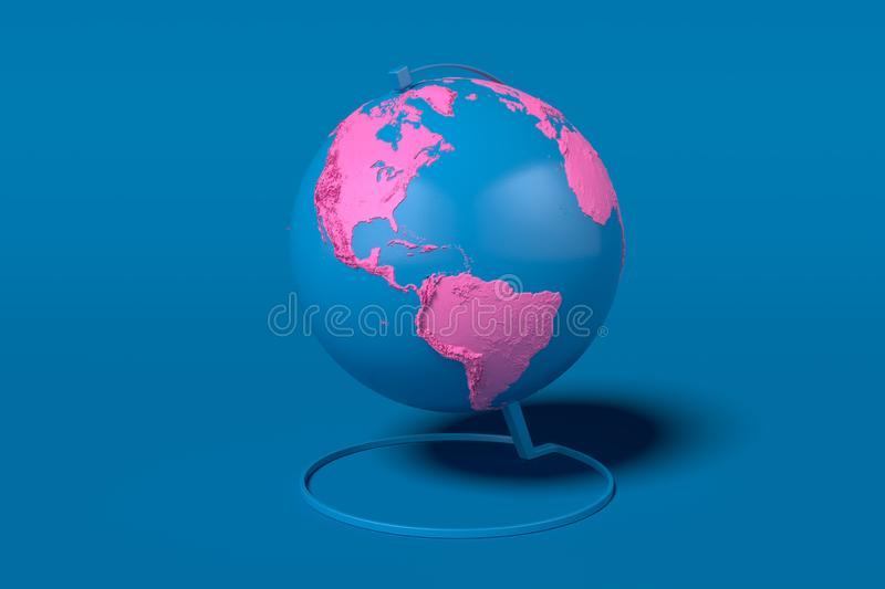 Earth globe with pink continents isolated on blue background. 3d rendering. map provided by NASA. Blue Earth globe with pink continents isolated on blue vector illustration