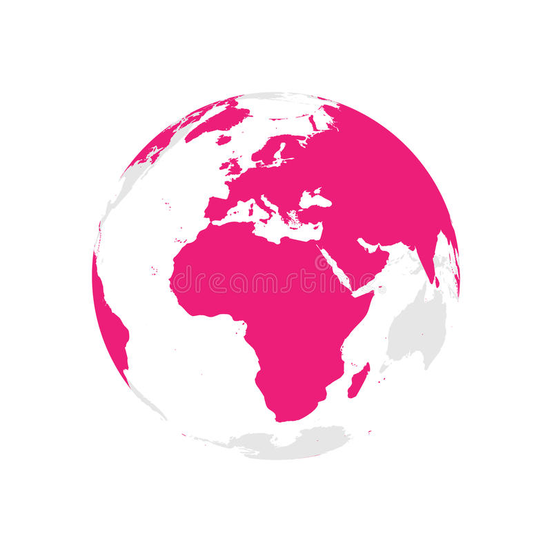 Earth globe with pink world map. Focused on Africa and Europe. Flat vector illustration.  stock illustration