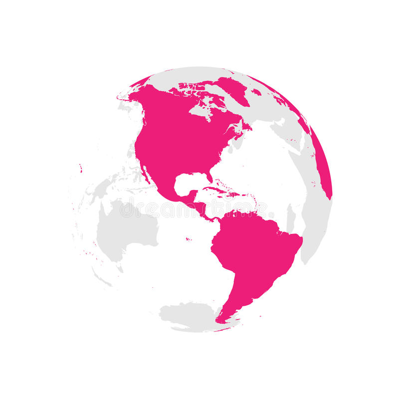 Earth globe with pink world map. Focused on Americas. Flat vector illustration.  royalty free illustration