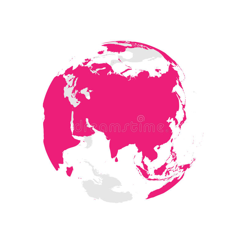 Earth globe with pink world map. Focused on Asia. Flat vector illustration.  vector illustration