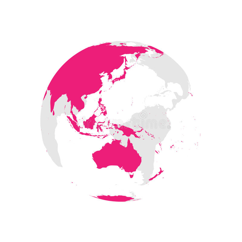 Earth globe with pink world map. Focused on Australia and Pacific. Flat vector illustration.  royalty free illustration