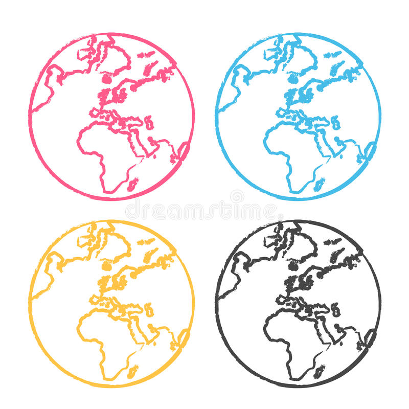 Download The earth globe pop art stock vector. Image of style, pencil - 9605621