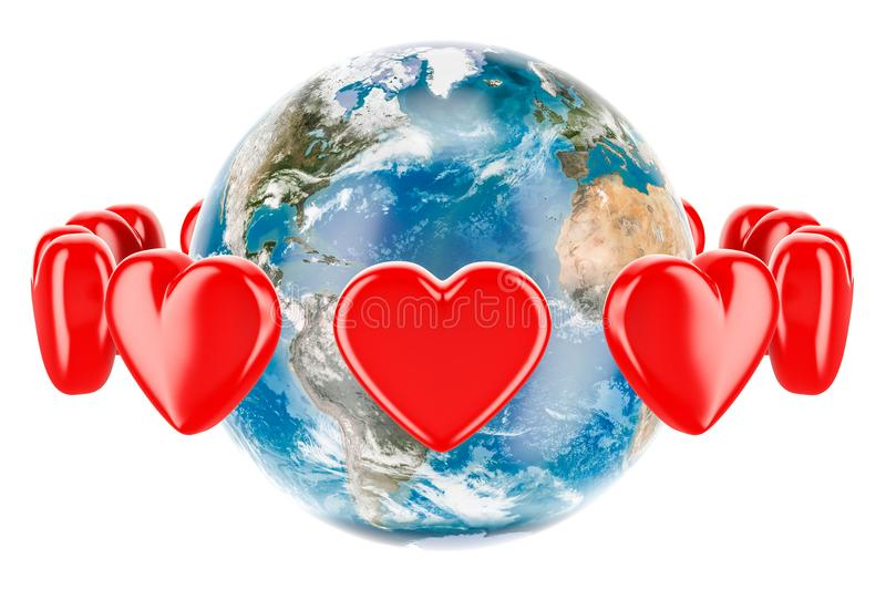 Earth globe with red hearts around, valentine`s day concept. 3D royalty free illustration