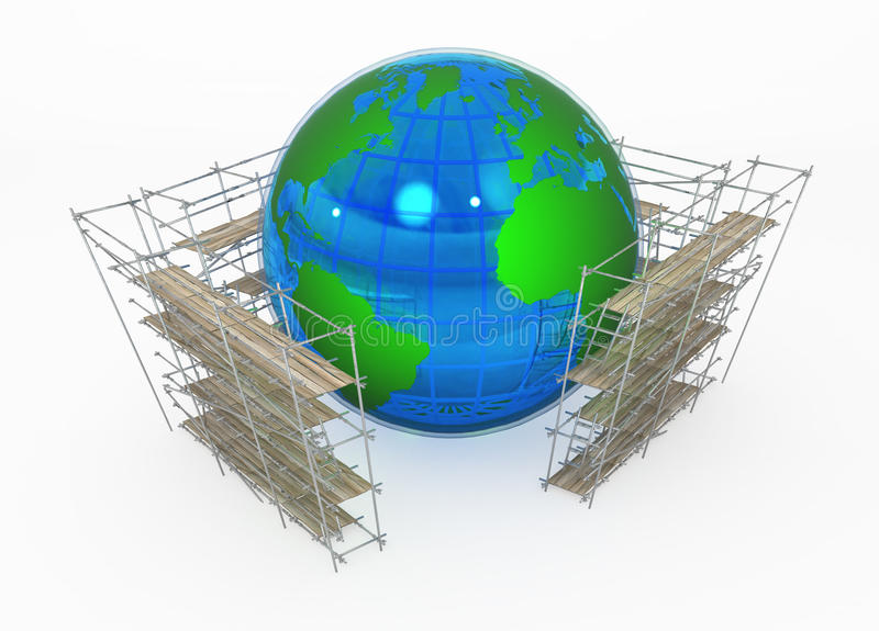 Earth Globe, Scaffolding royalty free illustration