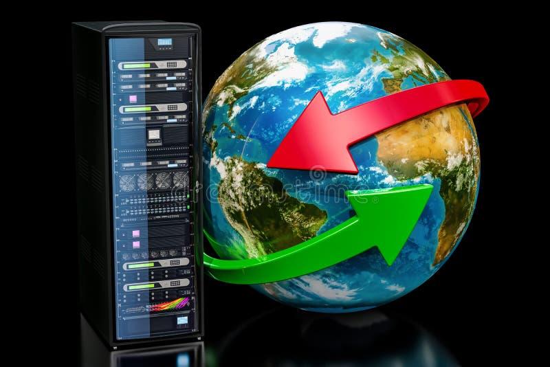 Earth Globe with server rack. Global network concept on black ba stock illustration