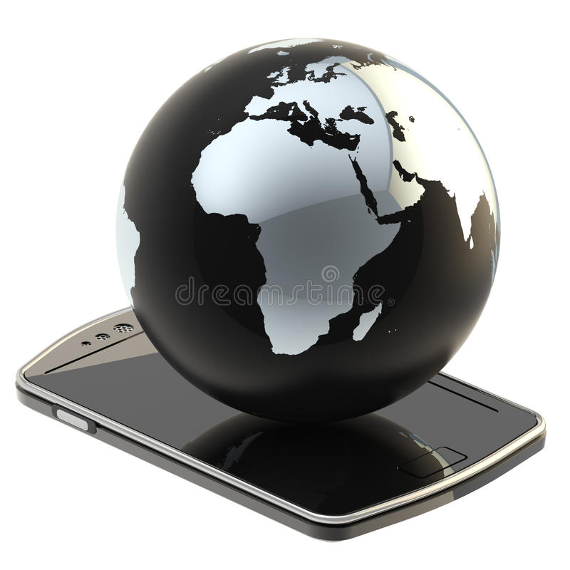 Download Earth Globe On Smart Phone Screen Isolated Stock Illustration - Image: 28034497