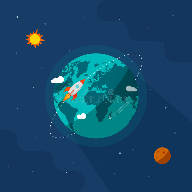 Earth globe space vector, rocket ship flying around planet orbit vector illustration