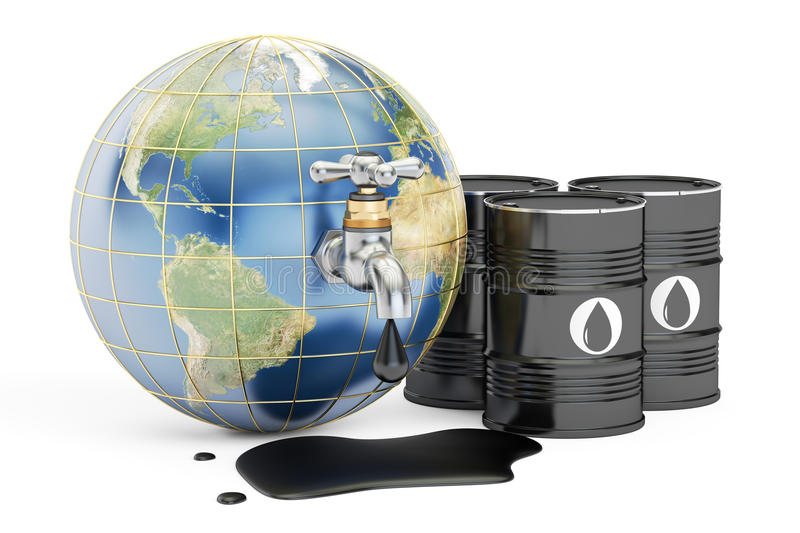 Earth globe squeezing oil through a tap, 3D rendering royalty free illustration