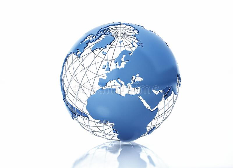 Earth globe stylized with metal grid. Europe view stock photography