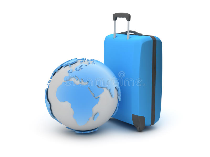 Download Earth Globe And Suitcase As Travel Symbols Stock Illustration - Illustration of valise, traveler: 39510686