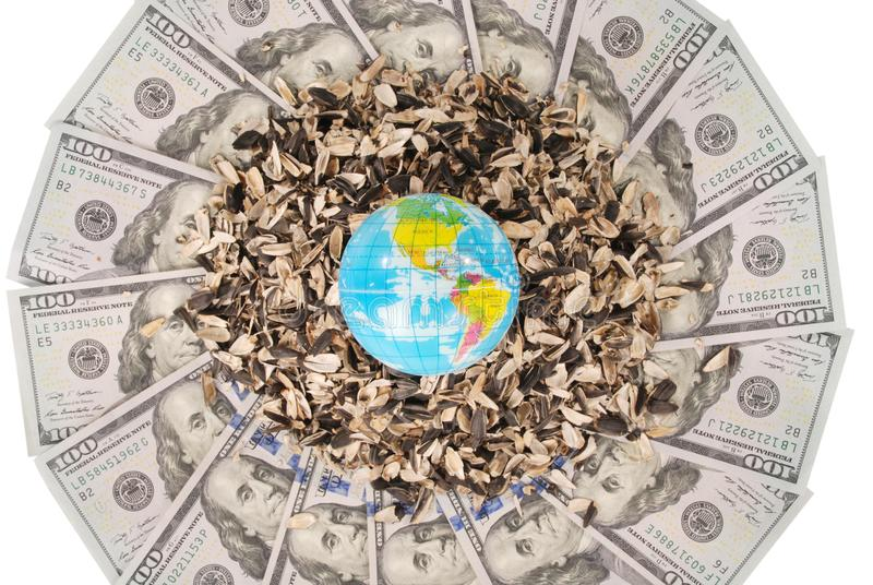 Earth globe and sunflower husk on mandala kaleidoscope from money. Abstract money background raster pattern repeat mandala circle royalty free stock images