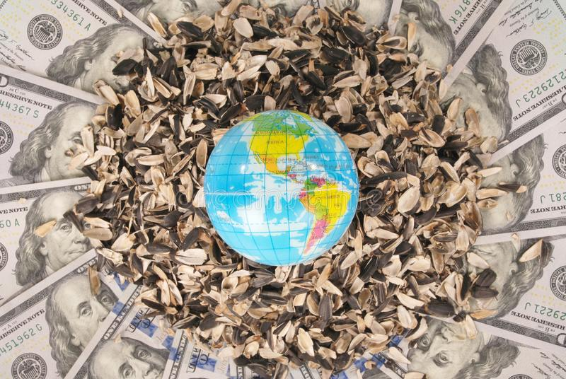Earth globe and sunflower husk on mandala kaleidoscope from money. Abstract money background raster pattern repeat mandala circle stock image