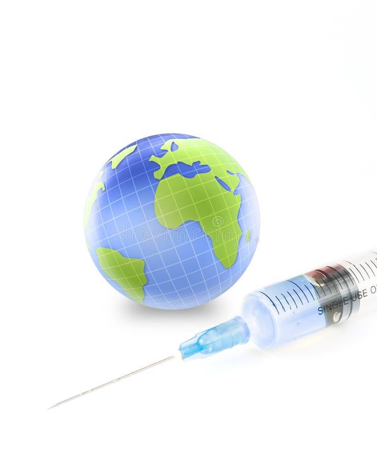 Earth globe and syringe stock photography