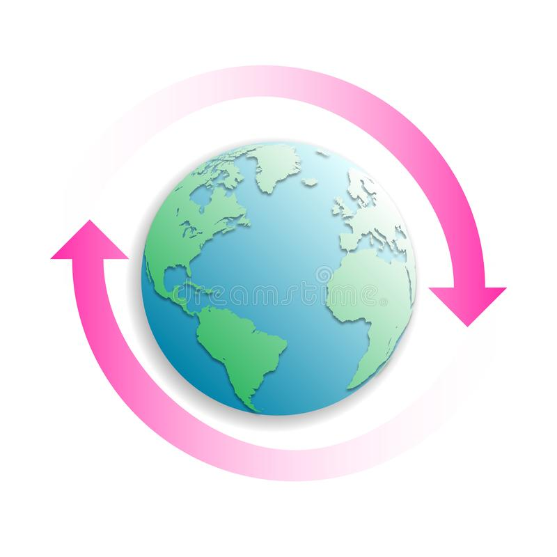 Earth globe with two pink arrows. Concept recycle  design for banner, greeting card, t-shirt, print, poster. Vector illustration stock illustration
