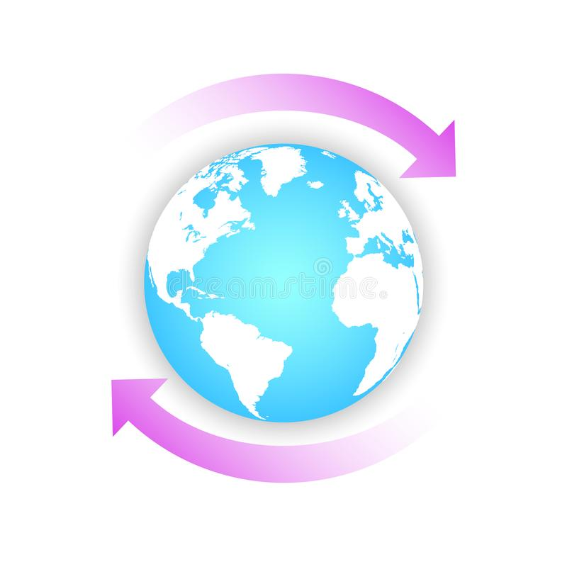 Earth globe with two pink arrows. Concept recycle  design for banner, greeting card, t-shirt, print, poster. Vector illustration royalty free illustration