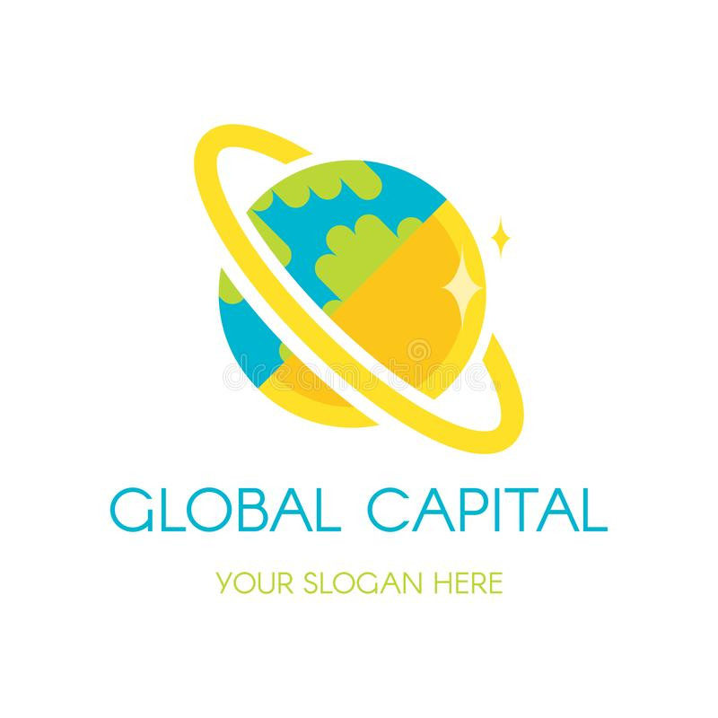 Earth globe vector logo design. Digital planet finance, banking company icon concept with lettering royalty free illustration