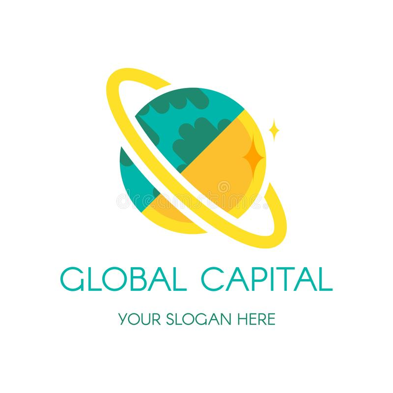 Earth globe vector logo design. Digital planet finance, banking company icon concept with lettering vector illustration