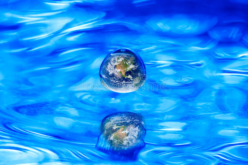 Earth globe water drop concept royalty free stock image