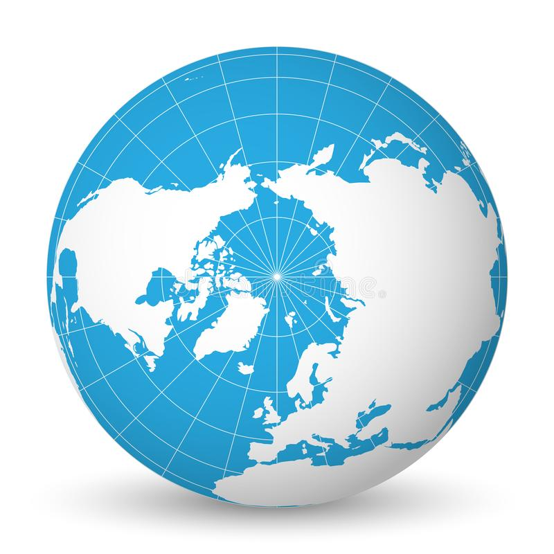 Earth globe with white world map and blue seas and oceans focused on download earth globe with white world map and blue seas and oceans focused on arctic ocean gumiabroncs Choice Image