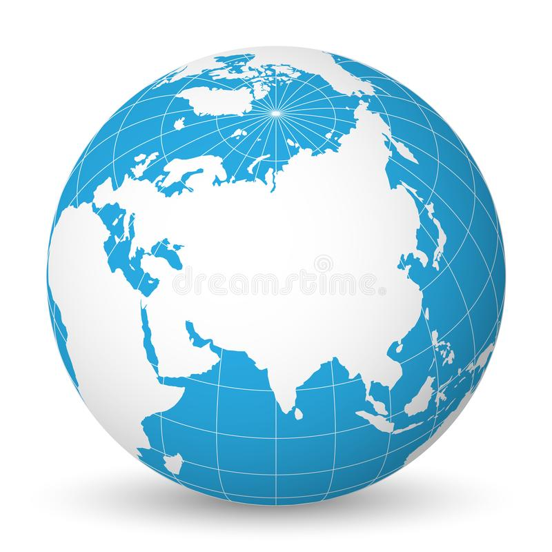 Earth globe with white world map and blue seas and oceans focused on Asia. With thin white meridians and parallels. 3D. Earth globe with green world map and blue royalty free illustration