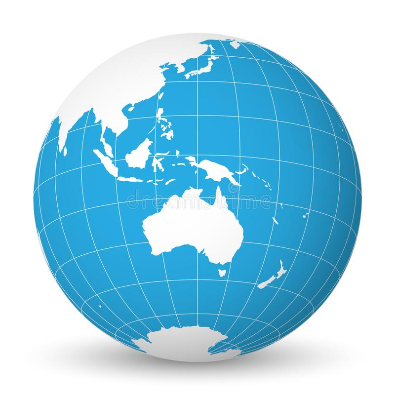Earth globe with white world map and blue seas and oceans focused on Australia. With thin white meridians and parallels. Earth globe with green world map and royalty free illustration