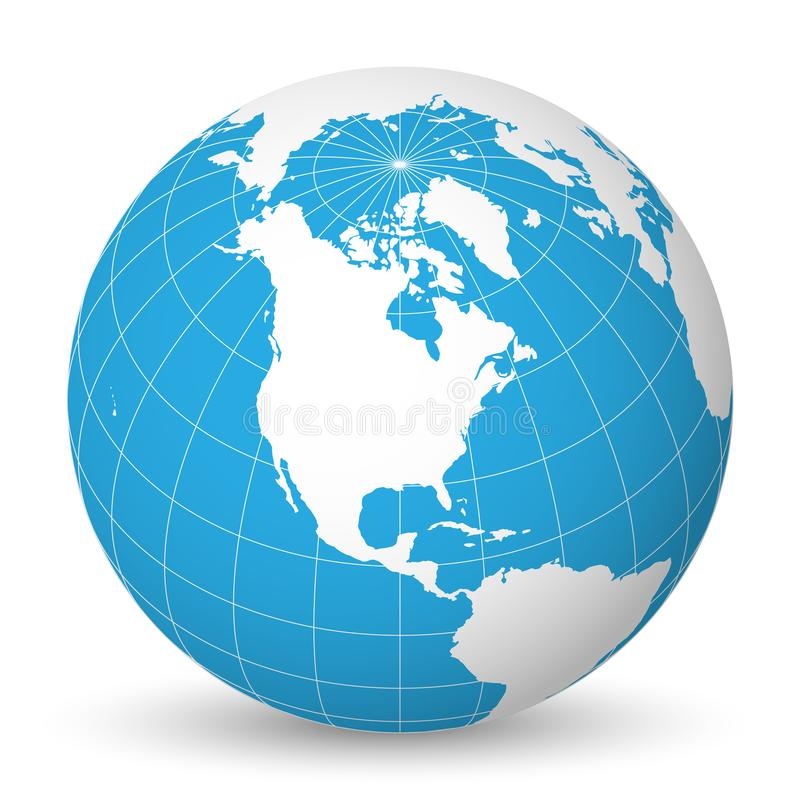 Earth globe with white world map and blue seas and oceans focused on North America. With thin white meridians and. Earth globe with green world map and blue seas stock illustration