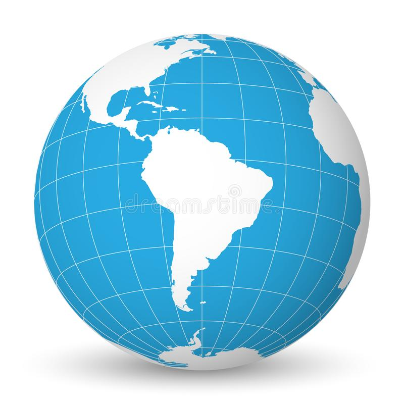 Earth globe with white world map and blue seas and oceans focused on download earth globe with white world map and blue seas and oceans focused on south america gumiabroncs Images