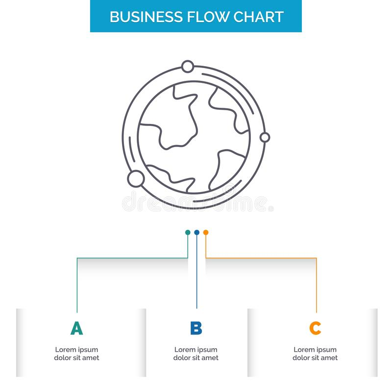 earth, globe, world, geography, discovery Business Flow Chart Design with 3 Steps. Line Icon For Presentation Background Template stock illustration
