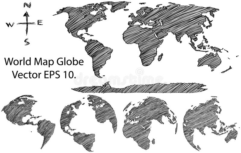 Earth Globe with World map Detail Vector Line Sketched Up Illustrator royalty free illustration