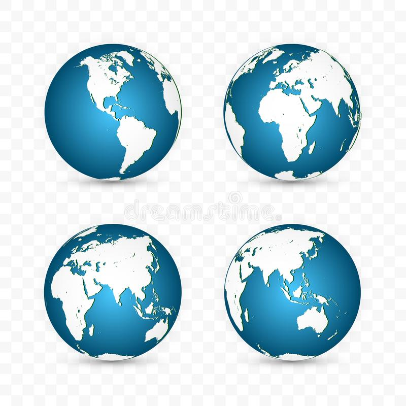 Earth globe. World map set. Planet with continents. Vector Illustration.  royalty free illustration