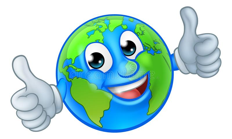 Earth Globe World Mascot Cartoon Character. An earth globe world cartoon character mascot giving a thumbs up royalty free stock image