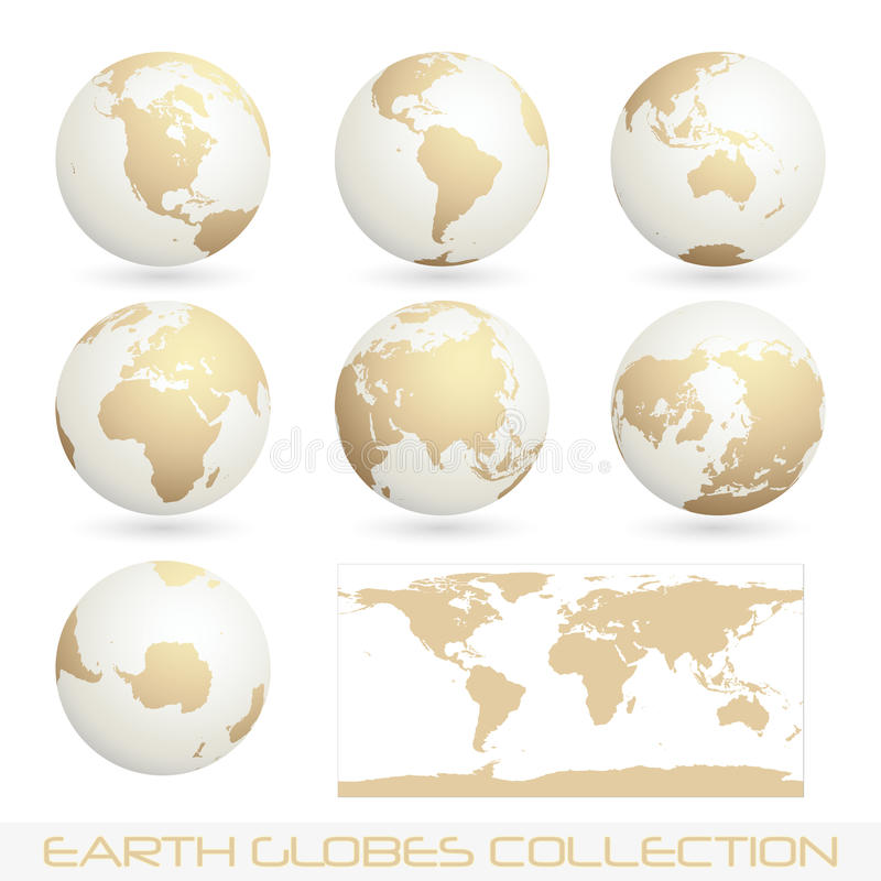 Download Earth Globes Colection, White - Cream Royalty Free Stock Photos - Image: 15251438