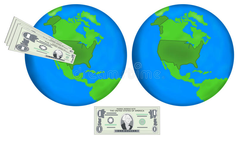Earth globes and dollars vector illustration