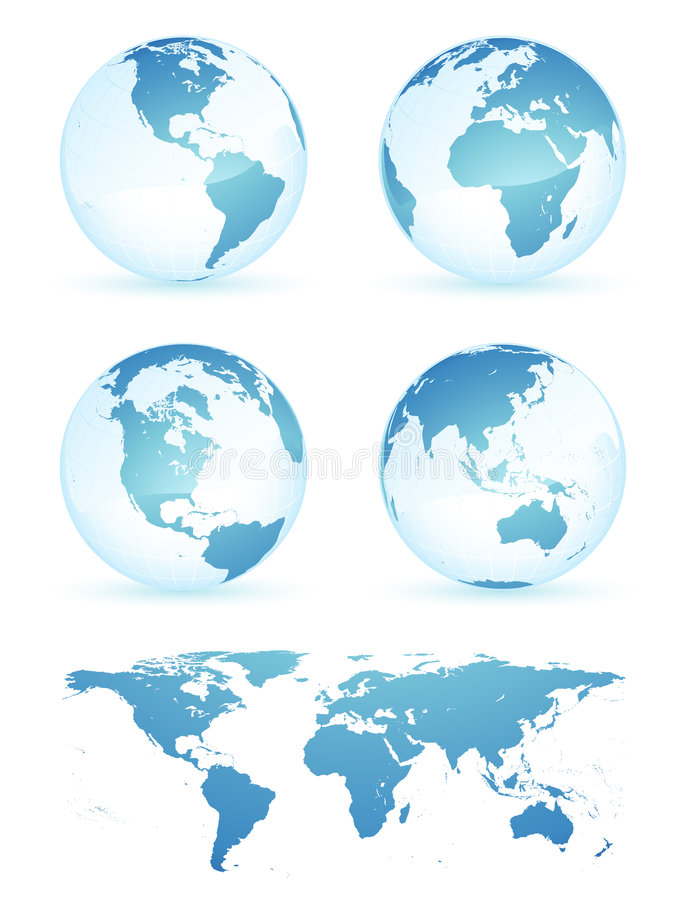 Earth globes and map vector illustration