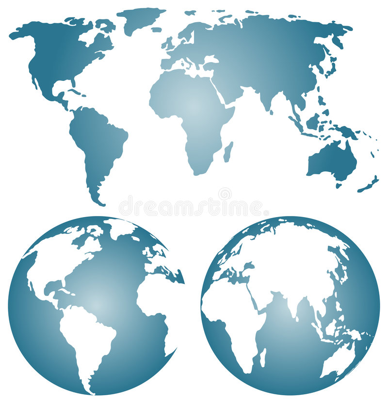 Download Earth Globes Over Continents. Stock Vector - Image: 8448097