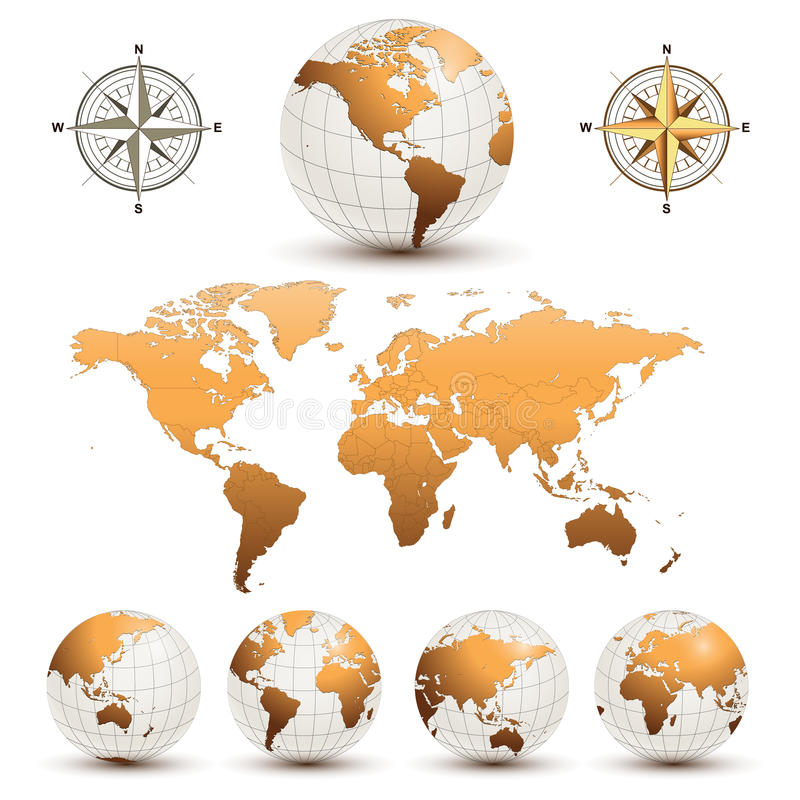 Free Earth Globes With World Map Stock Photos - 16707203