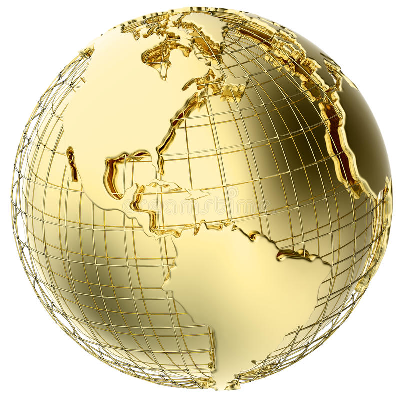 Earth in Gold Metal isolated on white stock illustration