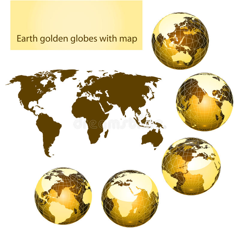 Download Earth Golden Globes With Map Stock Vector - Illustration: 14718882