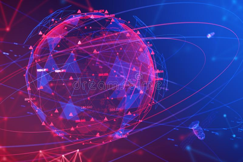 Earth and GPS navigation system. Hologram of Earth and red GPS navigation interface. Concept of satellite and global positioning system. 3d rendering. Elements royalty free illustration